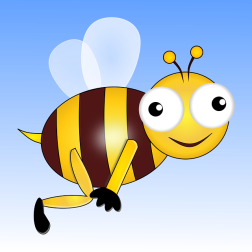 "cartoon bee, smiling and touching ""bee's knees"""
