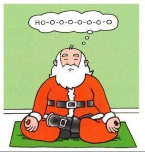 Cartoon Santa in Meditative Pose